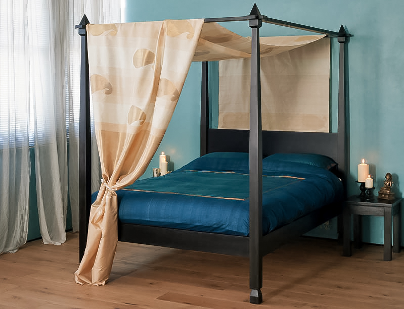 Raj colonial style four poster bed natural bed company for Colonial beds