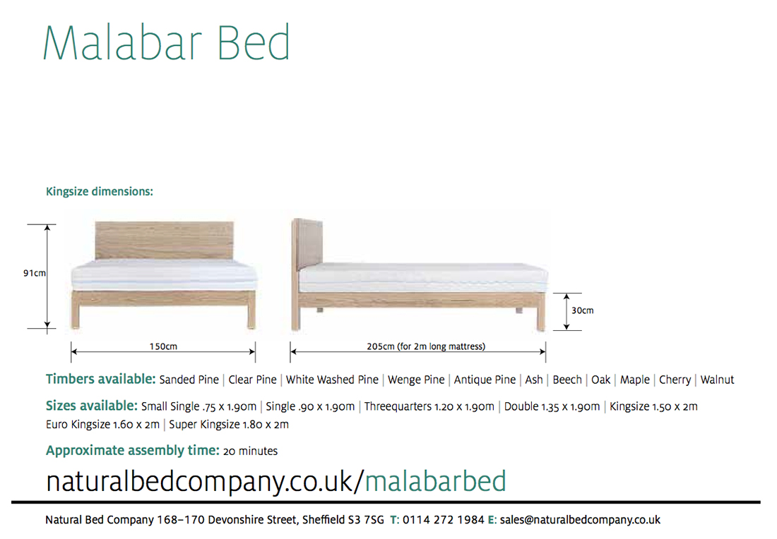 malabar wooden bed dimensions and size options