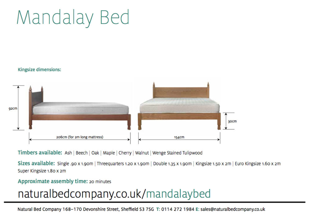 Mandalay Indian style wooden bed dimensions and bed sizes