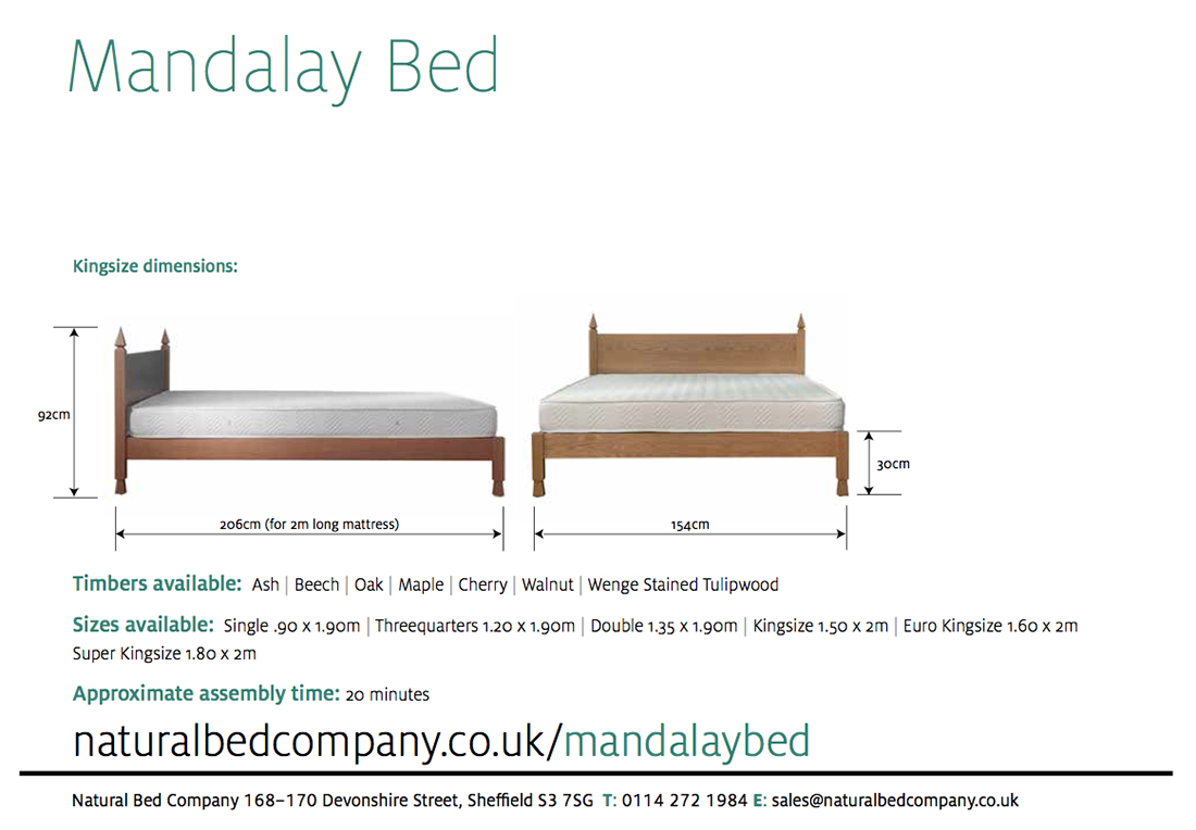 Mandalay bed indian style beds natural bed company Bed sizes