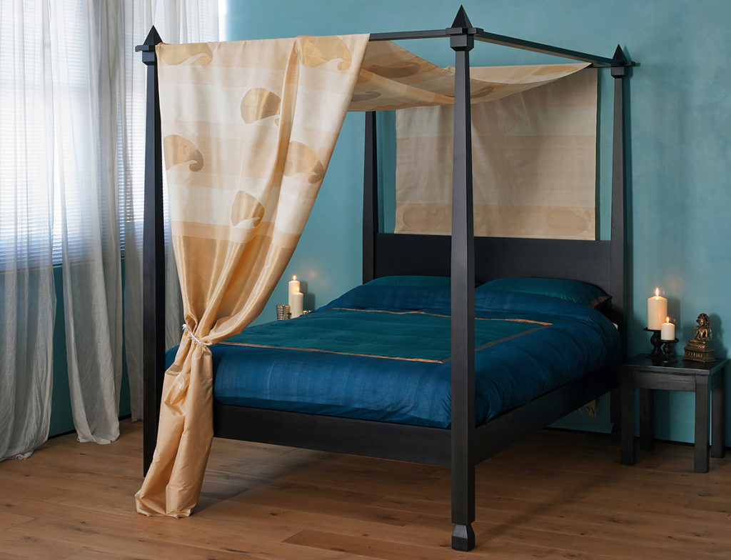 Indian style Raj 4 poster bed shown with with fabric canopy