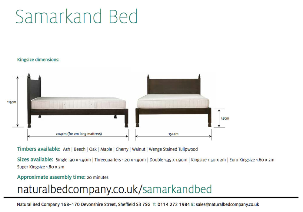 Samarkand Indian style bed dimensions and size options
