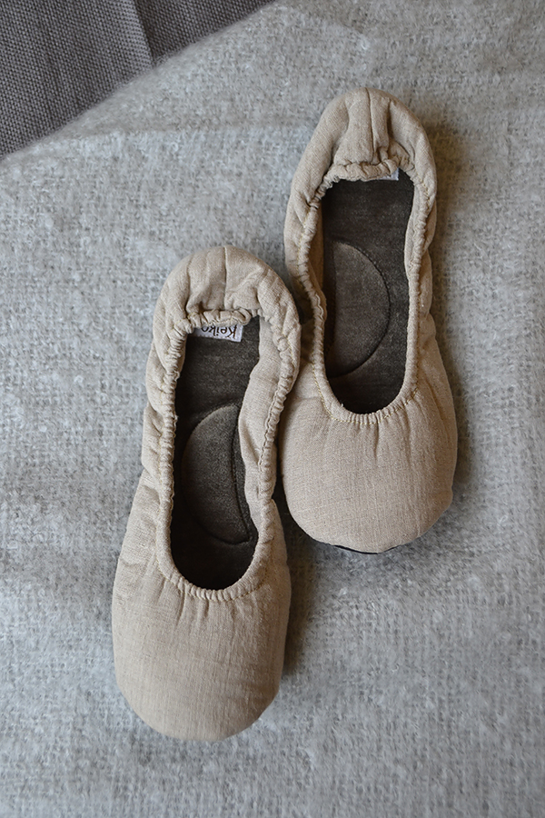 linen slippers - beige