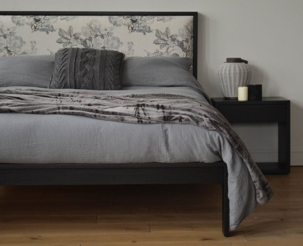 Monochrome bedroom with Black Oak version of the Shetland wooden Bed