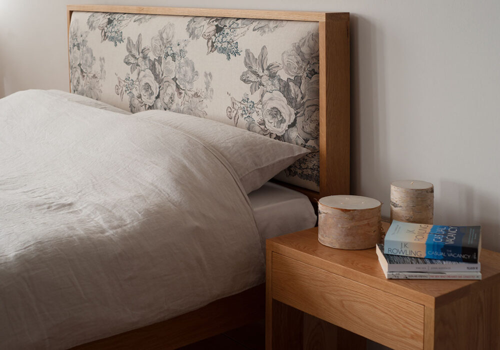 Shetland classic wooden bed with floral patterned headboard and oak bed frame