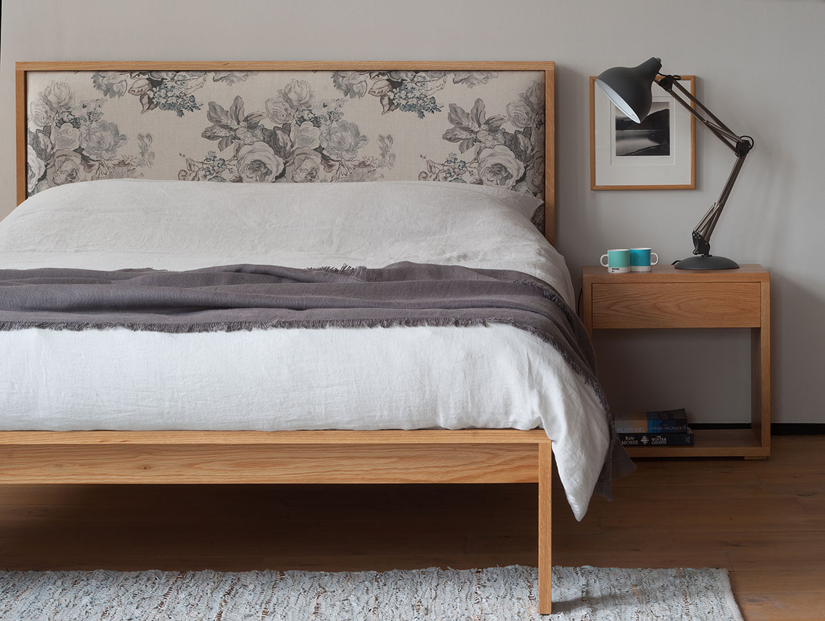 Shetland is a contemporary wooden bed with fabric upholstered headboard, it comes in a range of bed sizes