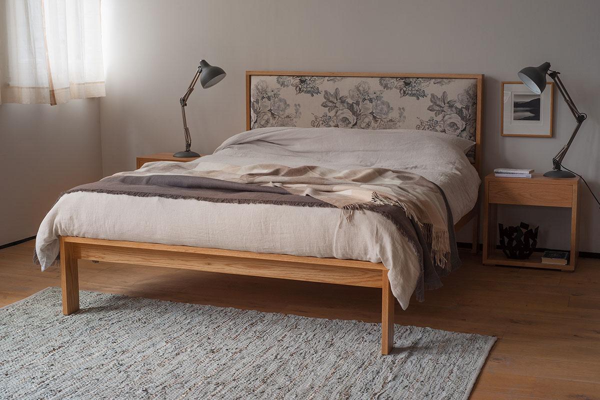 Shetland a hand made hardwood upholstered headboard bed