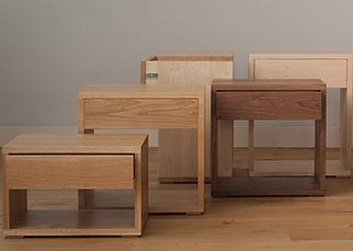 NBC made and desigend Cube bedside tables collection in a choice of wood and a range of heights to match your bed.
