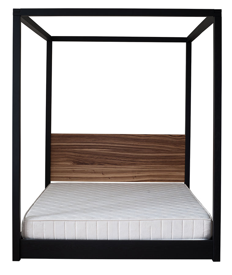 Bespoke Cube low 4 poster Bed with Black Oak frame and Zebrano wood headboard.