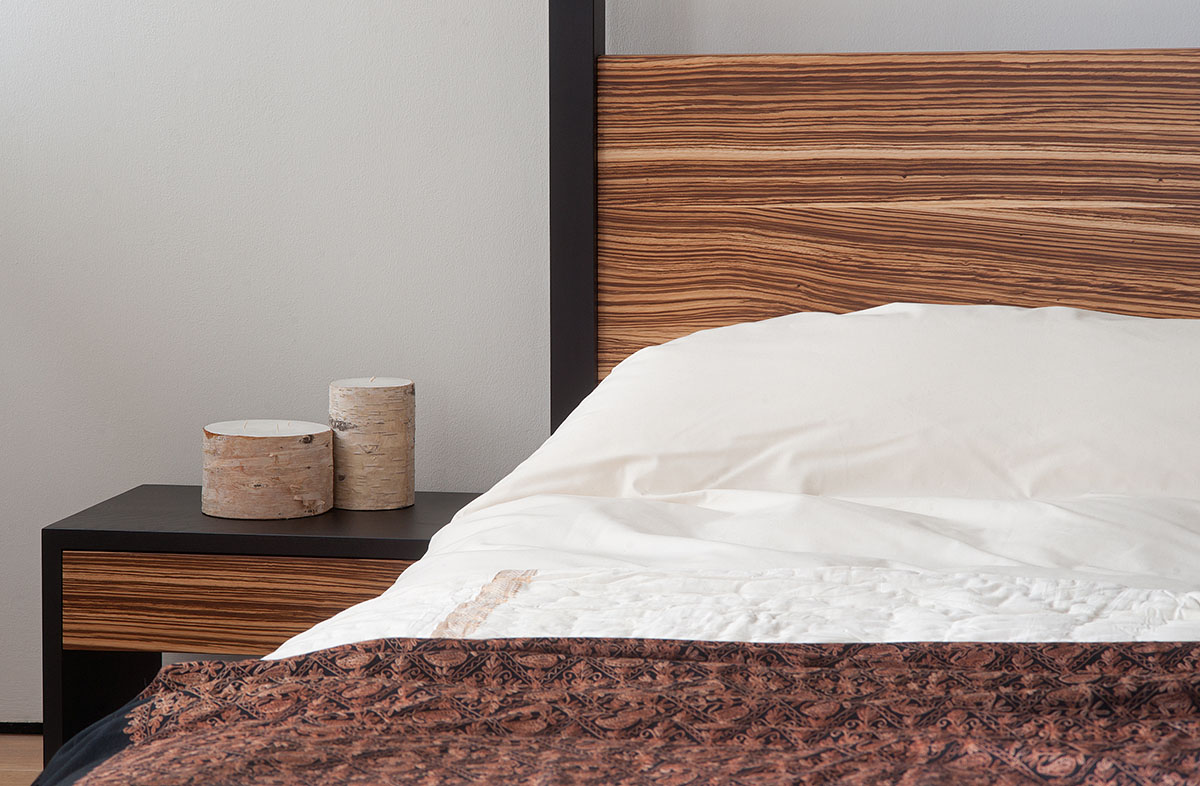 Cube bed and bedside table in one-off special Zebrano wood