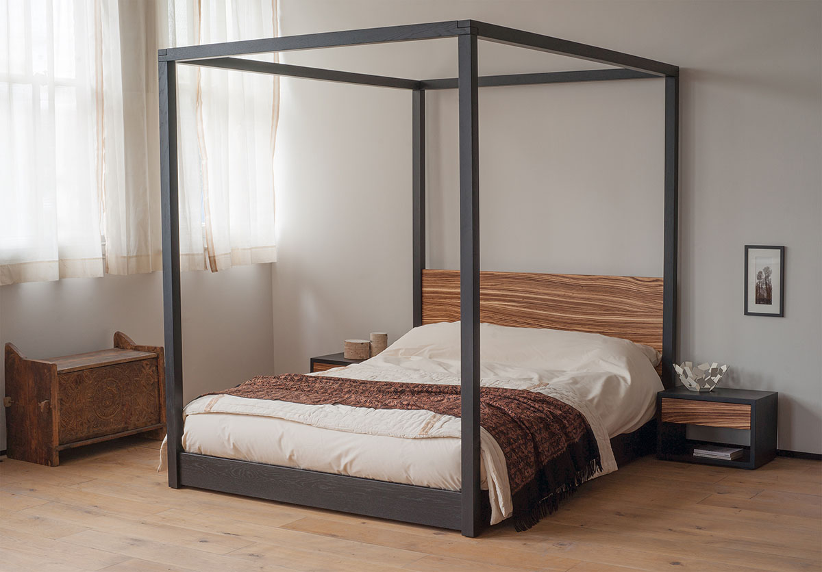 Zebrano cube 4 poster bed natural bed company for 4 bed
