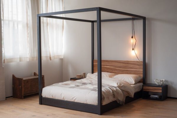 Industrial look Cube 4-Poster Bed bespoke made in Black Oak and Zebrano wood.