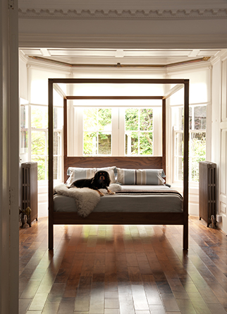 Contemporary classic bedroom featuring our Walnut 4 poster bed the Orchid