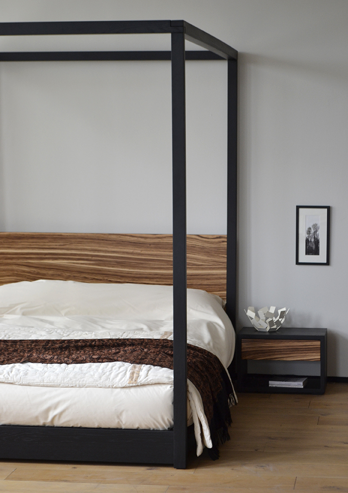 Dare to be different our cube 4-poster bed with a Zebrano wood headboard.