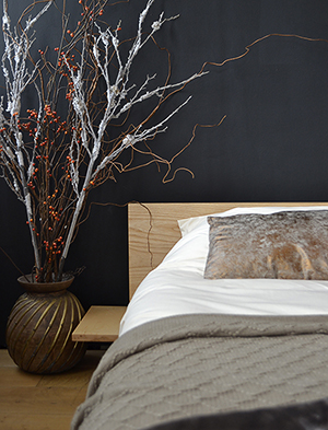 Ash low Kulu bed with shelf table against a dark statement wall