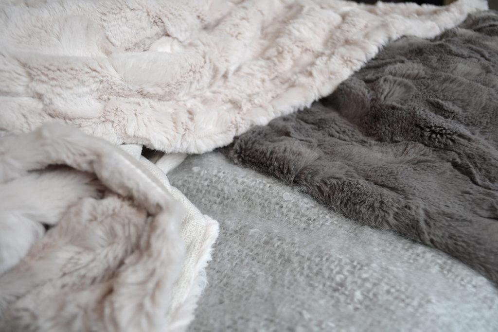 faux fur throw - magnolia & mole grey