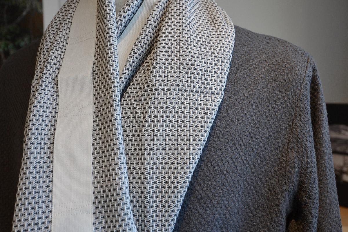 grey linum bathrobe and 100% organic cotton towel