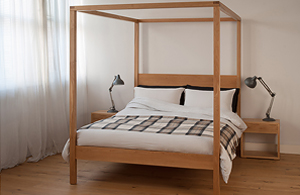 orchid contemporary 4-poster bed made from solid wood comes in a range of sizes.