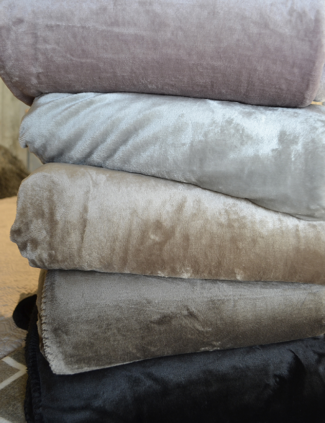 throws: black, slate, taupe, silver and dusty pink
