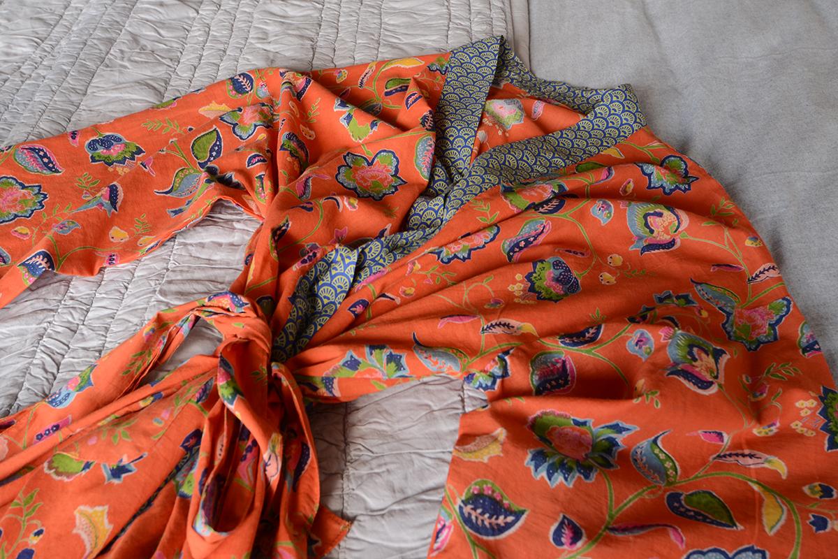 paprika kimono on bed