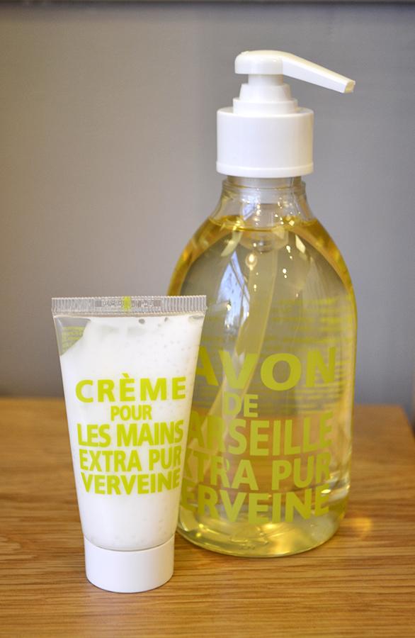 verbena hand cream and liquid soap