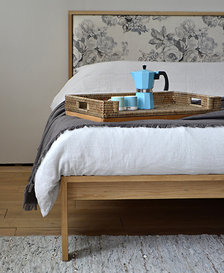 shetland solid wooden bed - oak with floral padded headboard