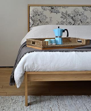 shetland bed - oak with floral headboard