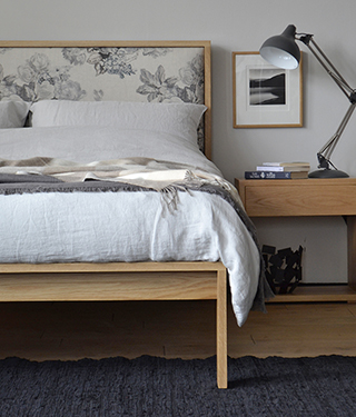 Classic look Shetland wooden bed in Oak with floral printed padded headboard