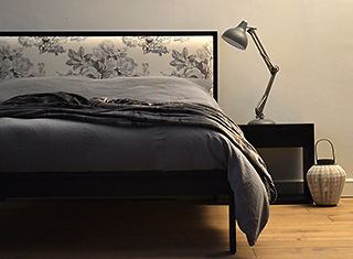 black painted wooden framed Shetland bed with matching bedside table