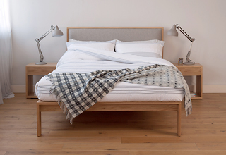 Shetland - contemporary solid oak bed with padded headboard, hand made in Britain