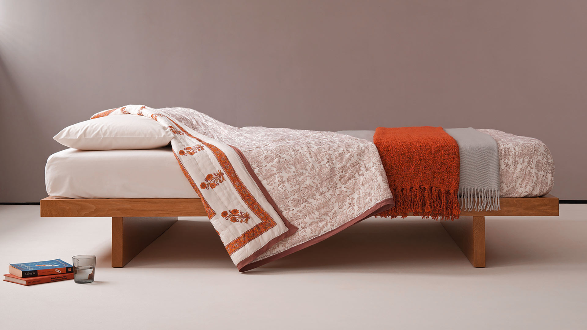 Hand-made Kyoto Bed made to order in a range of timbers and sizes here in Cherry.