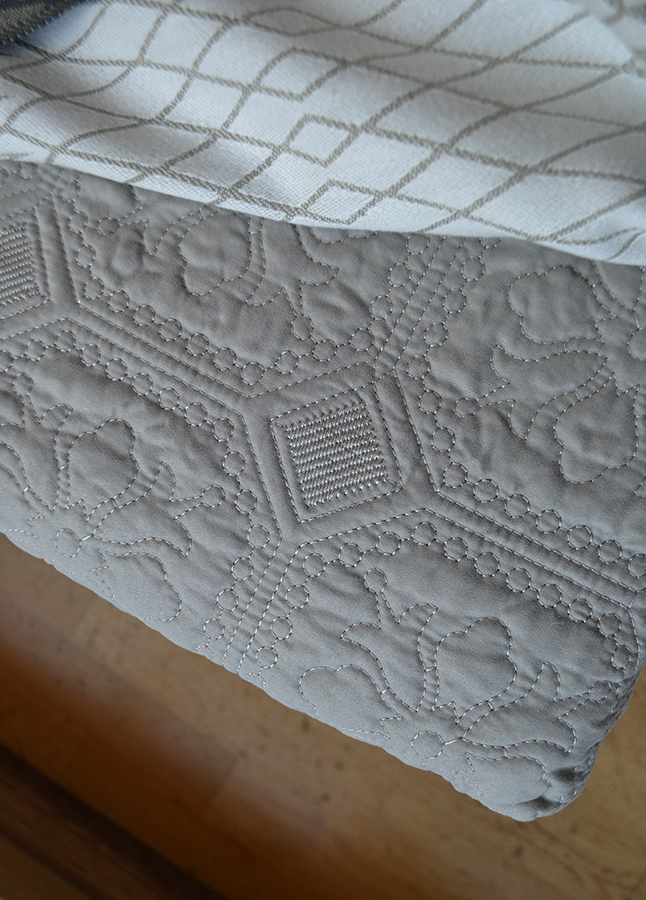 embroidered bedspread - deep warm stone