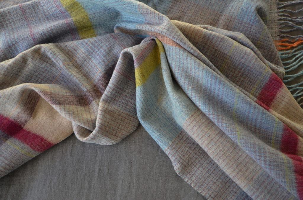Bronte - aqua patchwork throw