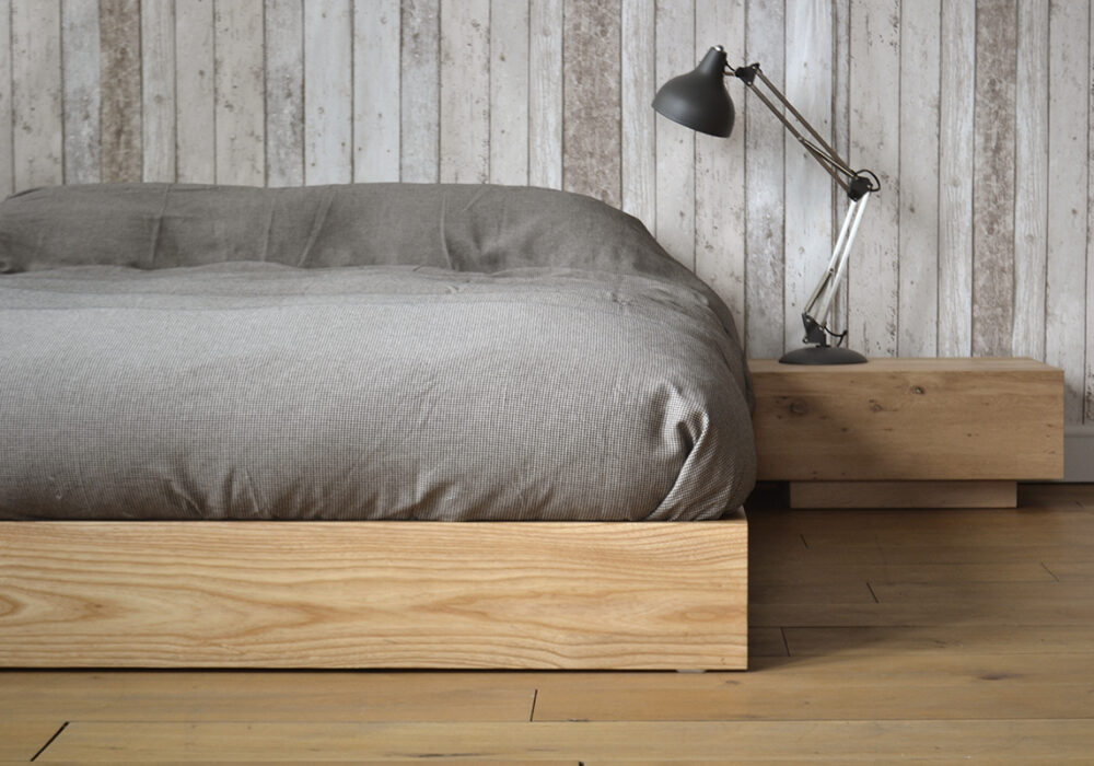 Ki solid wood bed or futon base her in Ash with Madra nightstand