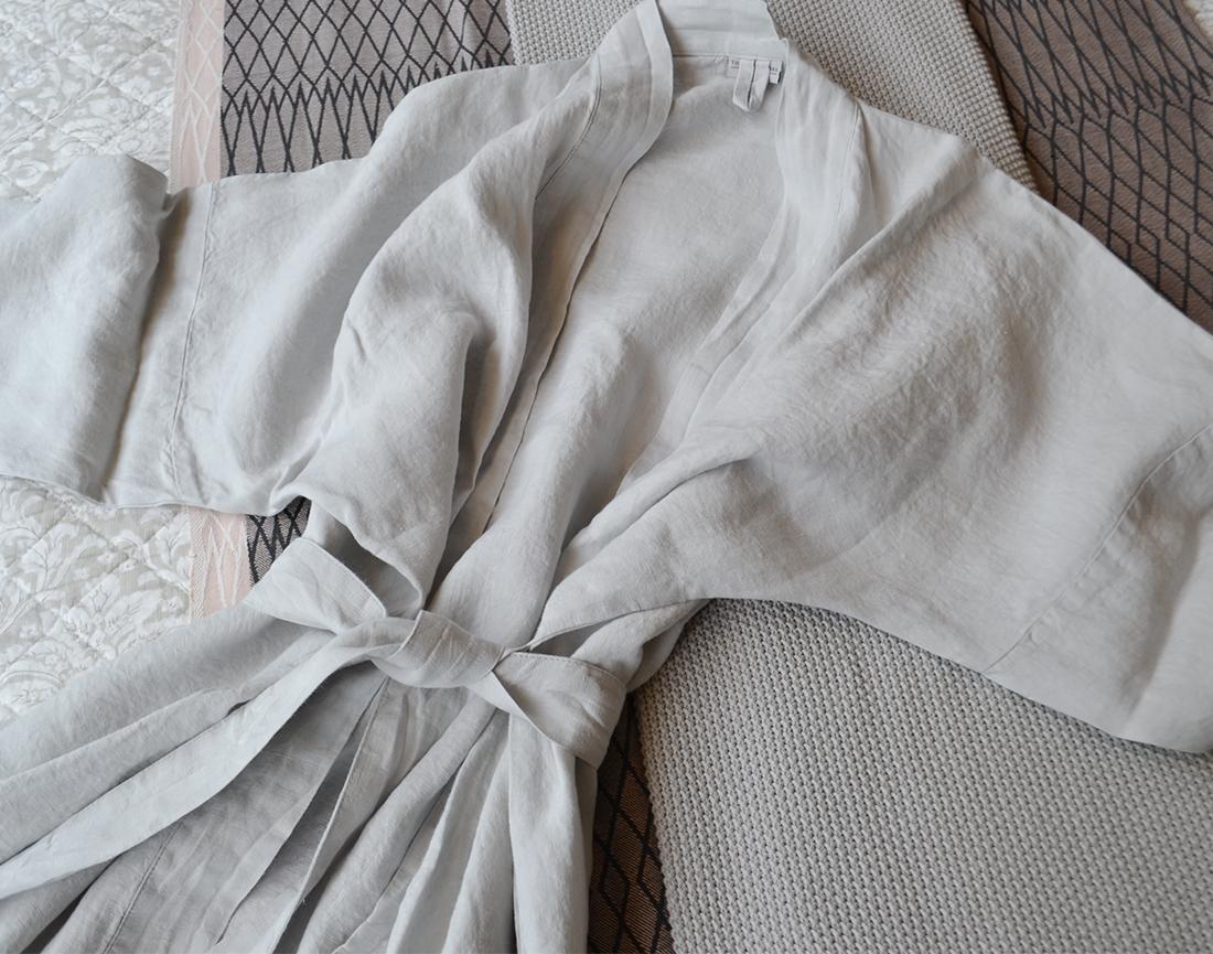 linen robes - dove grey