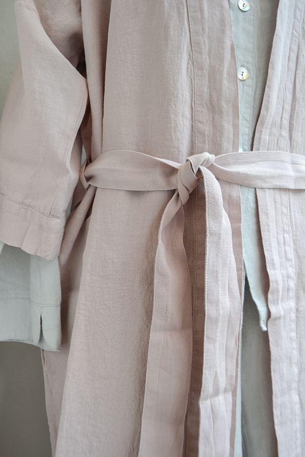 linen pink robe and dove pjs