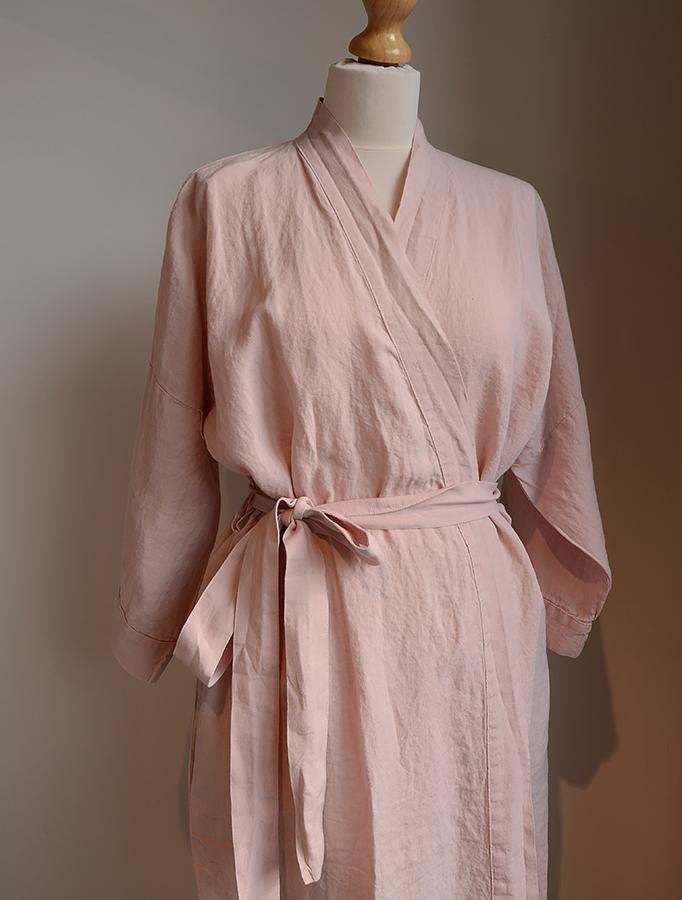 pink linen robe