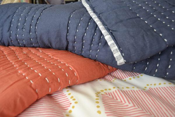 indigo and salmon Shanti Quilts