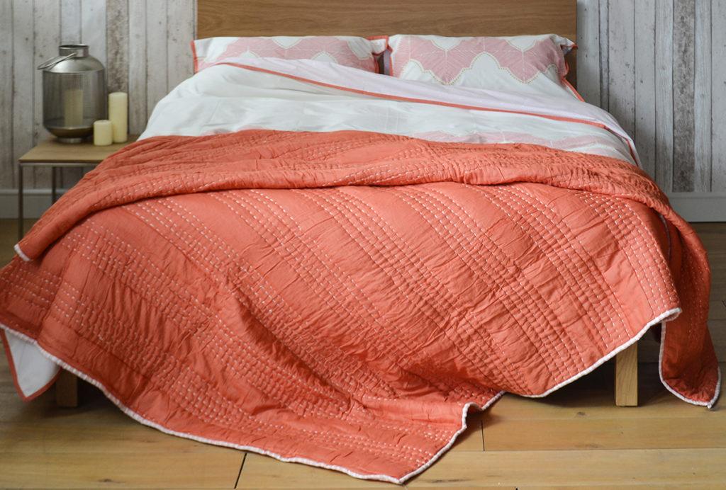 salmon shanti quilt and ashland duvet