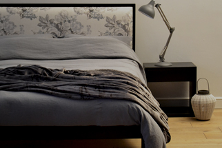charcoal linen bedding blog