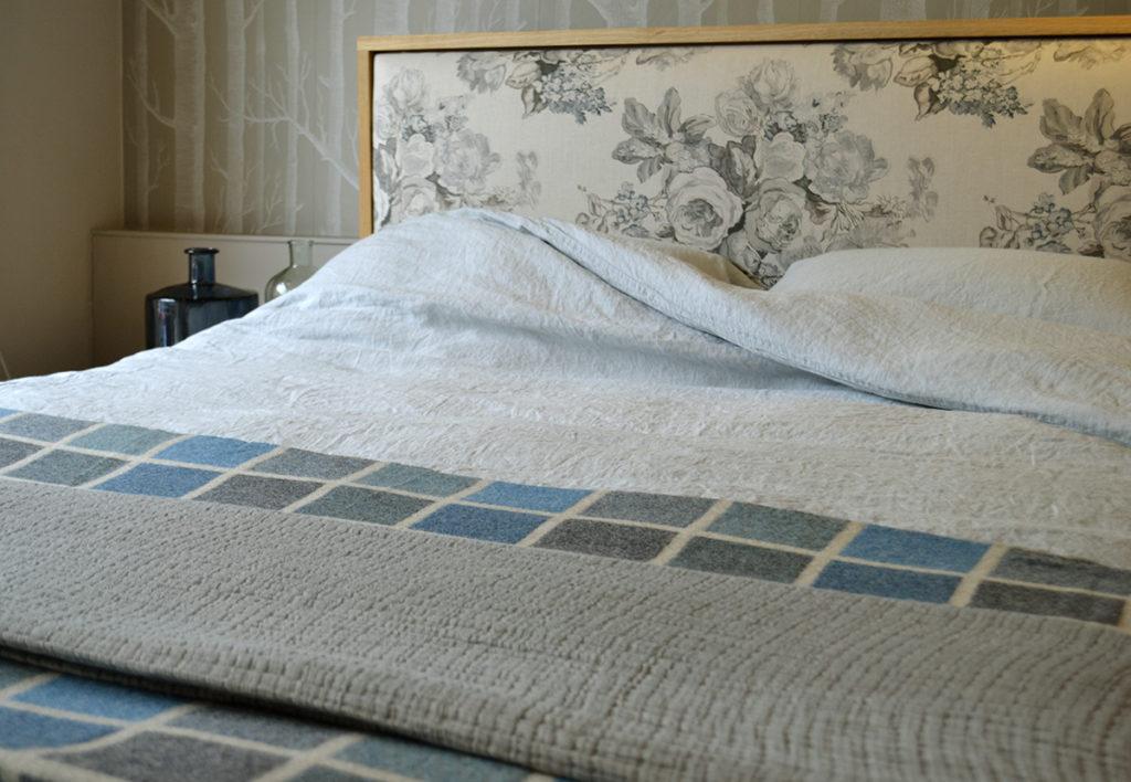 duck egg linen bedding on the shetland bed