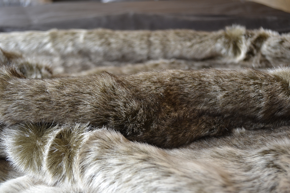 silver wolf faux fur throw