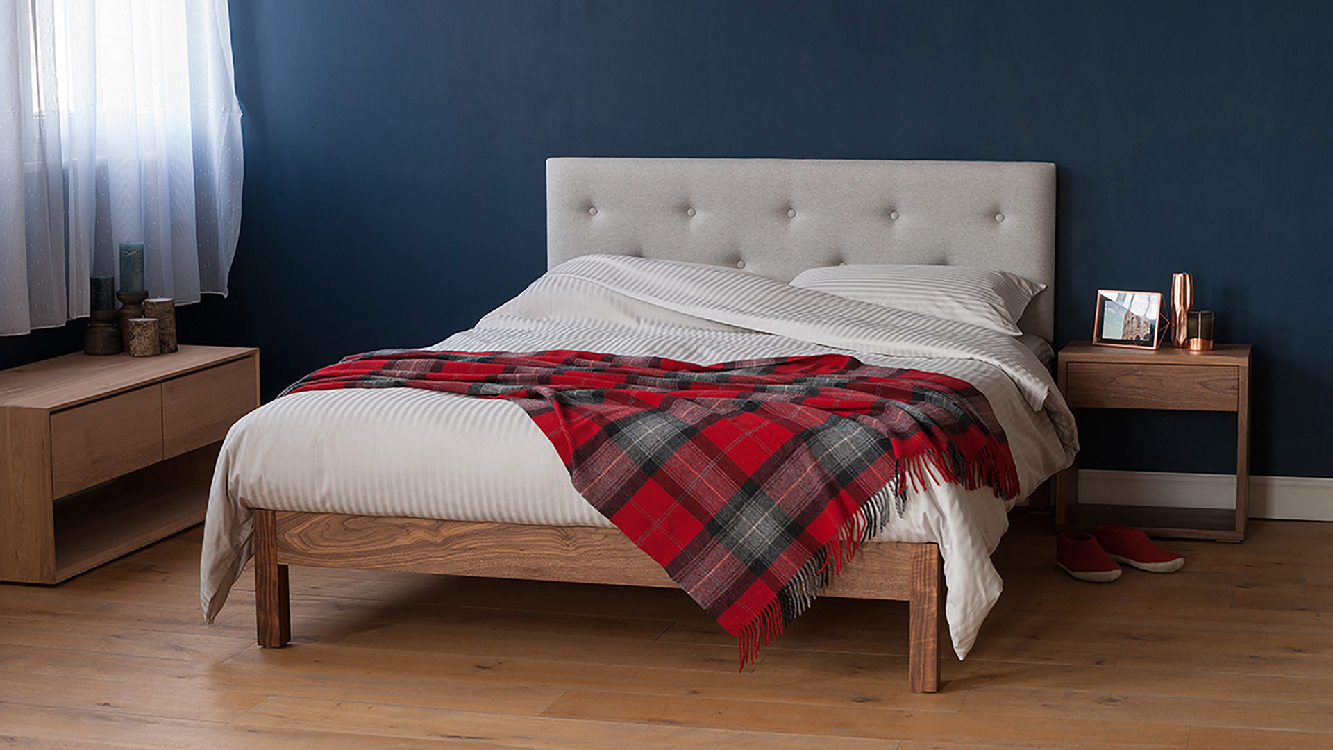Arran bed a solid wooden bed with padded headboard available in a choice of wood.