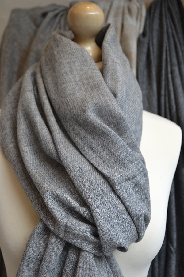 deep grey cashmere scarf