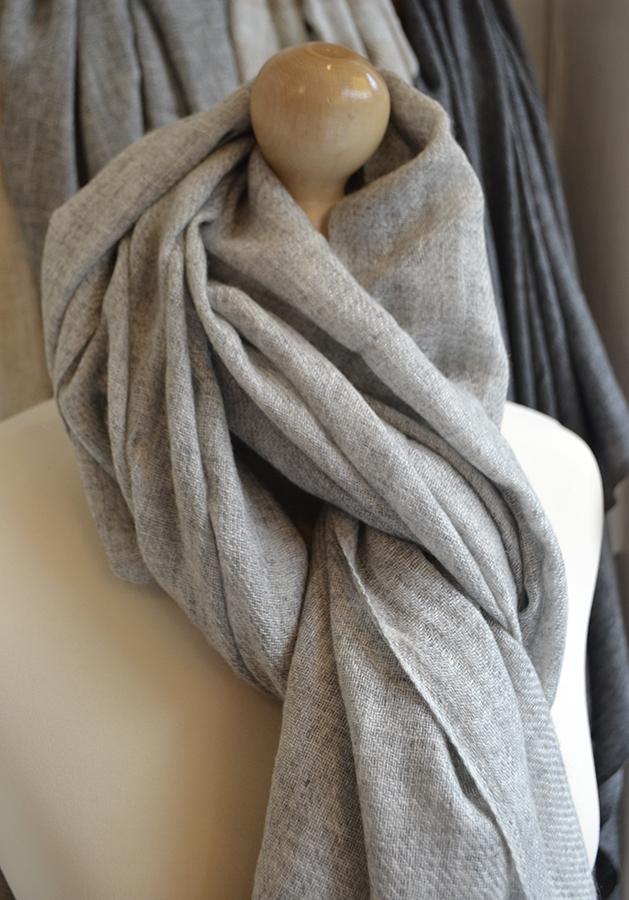 mid grey cashmere scarf