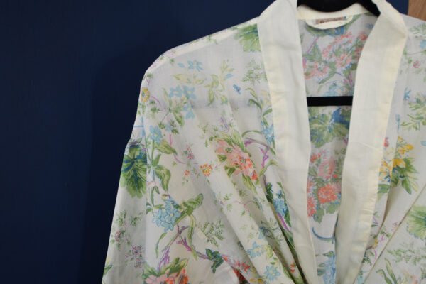 cream floral cotton dressing gown