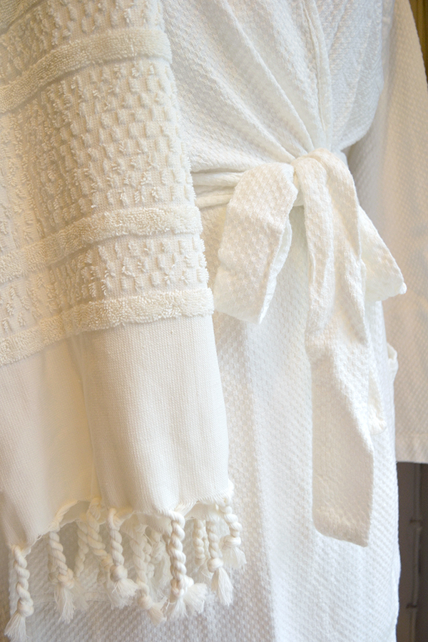 linum kimono robes - ivory