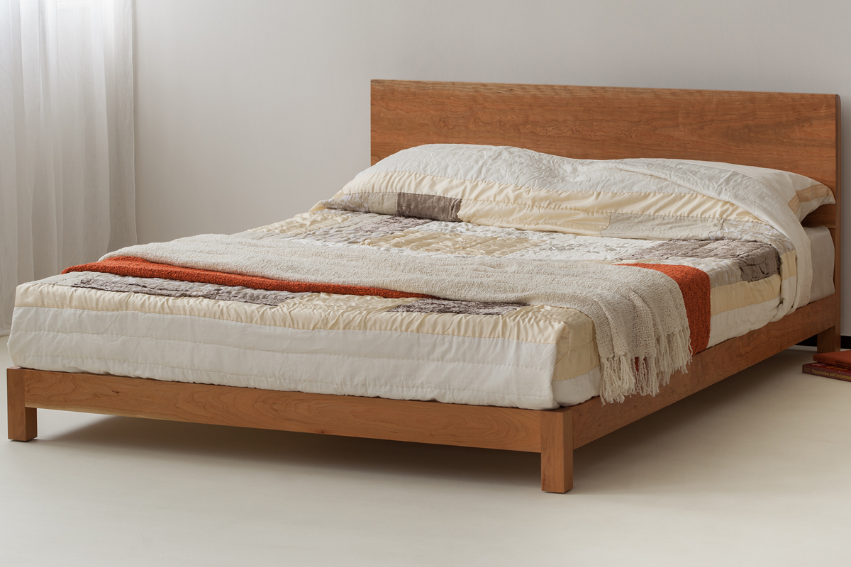 Modern low cherry sonora bed shown in kingsize