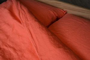 lisbon coral linen bedding