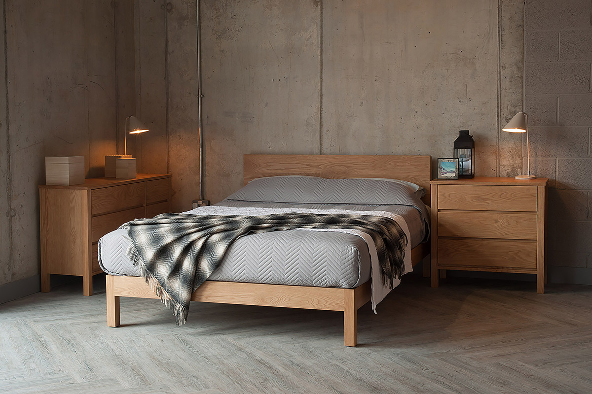 Chevron bedspread on contemporary oak Malabar bed, hand made to order in uk